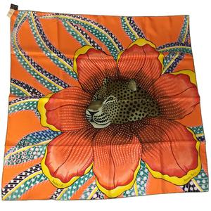 Auth Hermes KARE90 Baobab Cat Silk Scarf Orange