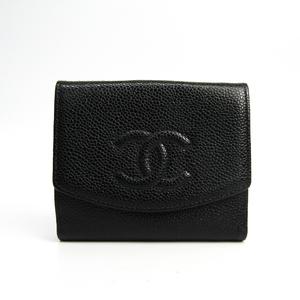 シャネル(Chanel) キャビアスキン 財布(二つ折り) ブラック