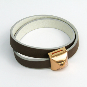 Hermes Medor Infini Metal,Swift Leather Bracelet Pink Gold,Taupe,White