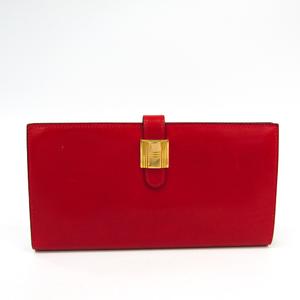 Hermes Saumur Dianne Women's  Box Calf Leather Long Wallet (bi-fold) Gold,Red
