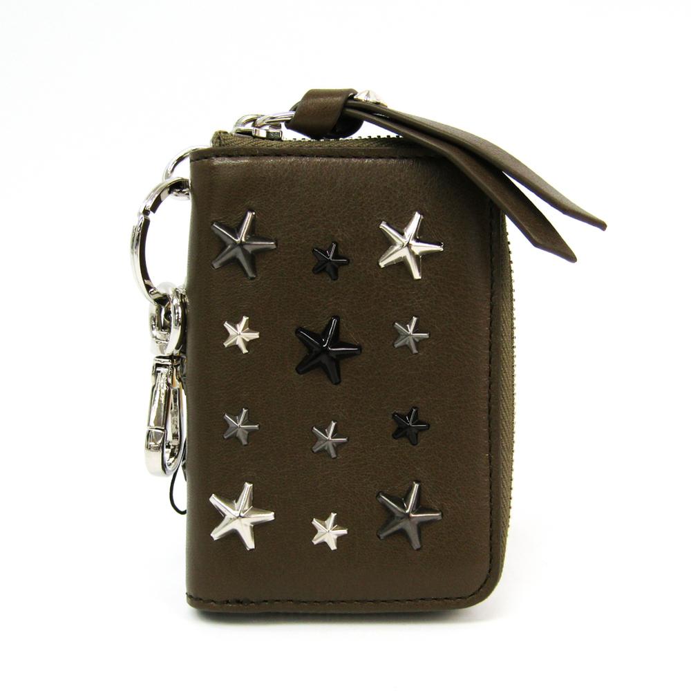 Jimmy Choo CADET ITQ J000106771001 Women's Leather Key Case Studded Khaki