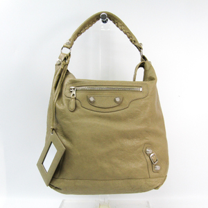 Balenciaga Giant Day 285437 Women's Leather Shoulder Bag Beige
