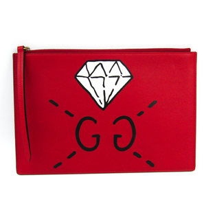 Gucci Ghost 445597 Women's Leather Clutch Bag Red