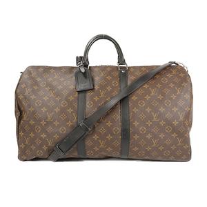 Auth Louis Vuitton Boston Bag Monogram Macassar Keepall Bandouliere 55 M56714