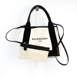 バレンシアガ(Balenciaga) ネイビーカバスXS 390346 レディース キャンバス,レザー ハンドバッグ ブラック,アイボリー