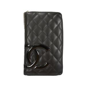 Auth Chanel Long Wallet Round Zipper Cambon Lambskin Black Silver