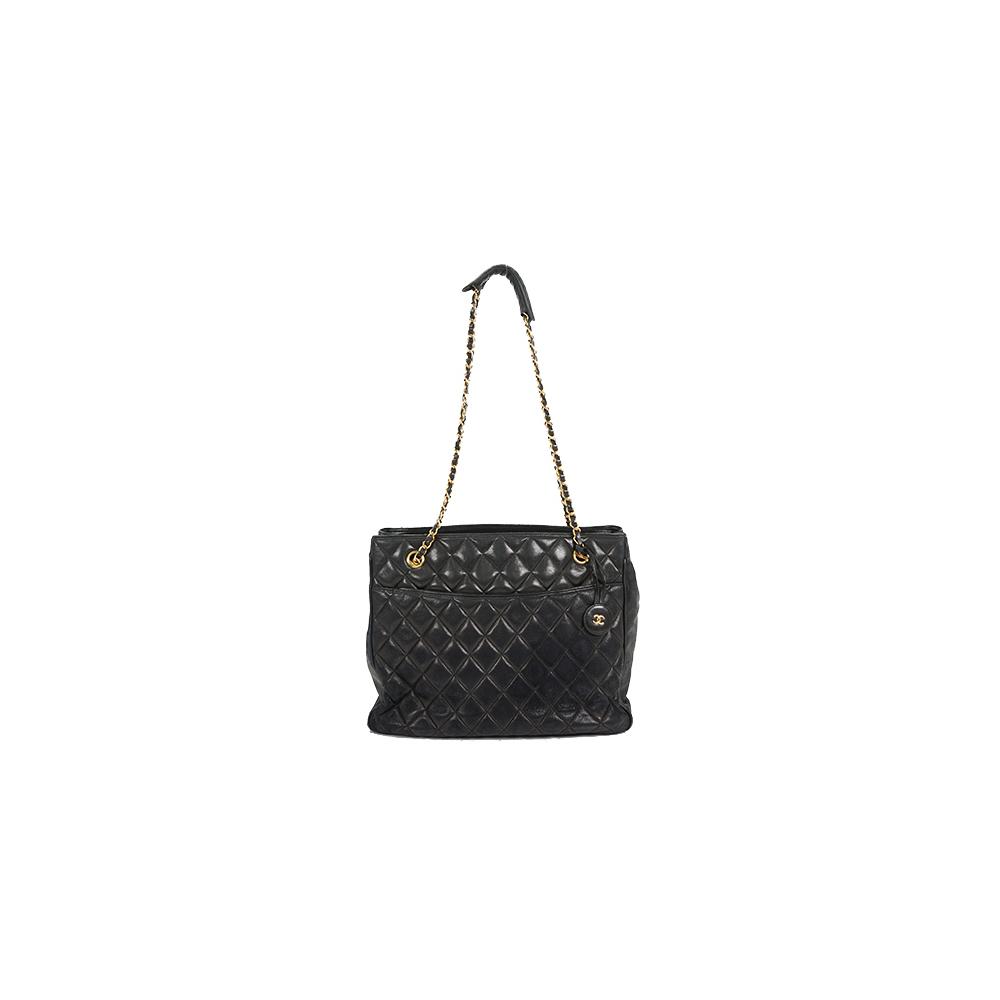 Auth Chanel Chain Tote Bag Matelasse Lambskin Black Gold Hardware