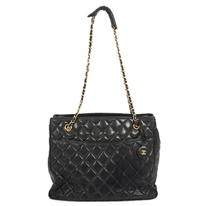 Auth Chanel Chain Tote Bag Matelasse Lambskin Black Gold Hardware
