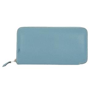 Auth Hermes Azap Long Wallet □O Blue Jean Silver