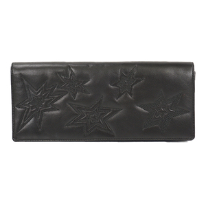Auth Saint Laurent Clutch Bag Stitch Black Silver