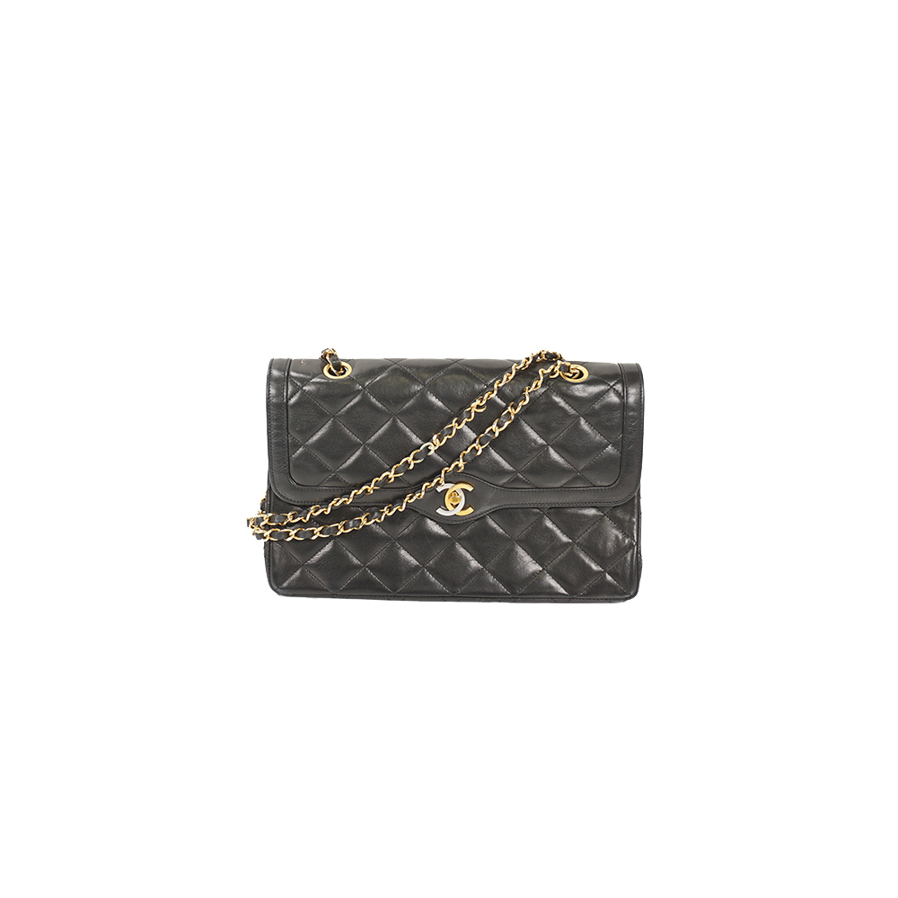 Auth Chanel Matelasse Chain Shoulder Bag W Chain W Flap Gold Lambskin Black