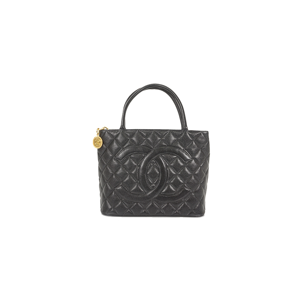 Auth Chanel Tote Bag Medalion Tote Caviar Skin Black Gold