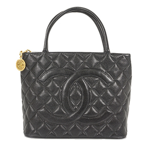Auth Chanel Tote Bag Medalion Tote Caviar Skin Black Gold