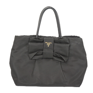 Auth Prada Tote Bag Tessuto Black Gold