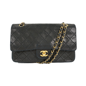 Auth Chanel Matelasse Chain Shoulder Bag W Chain W Flap Gold Lambskin Black