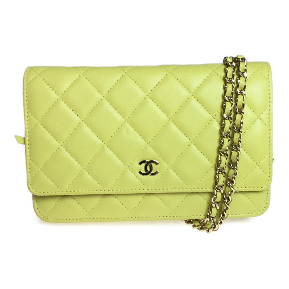 Auth Chanel Matelasse Chain Wallet Leather Pochette Yellow
