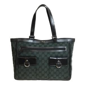 1649a72e0f727f Auth Gucci GG Canvas 498879 Tote Bag Handbag Tote Bag Leather Dark Green