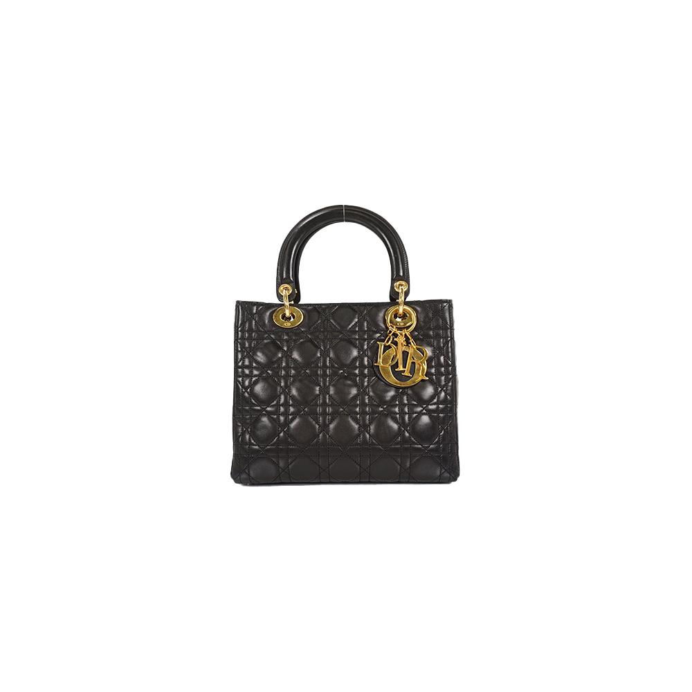 Auth Christian Dior Hand Bag Lady Dior Black Gold