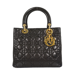 Auth Christian Dior Hand Bag Lady Dior Black Gold