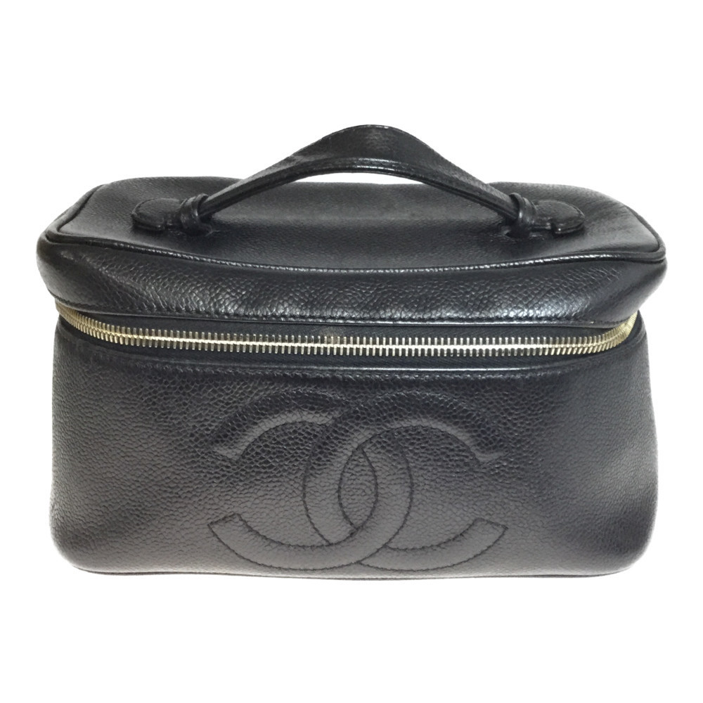 Auth Chanel Caviar Skin Leather Vanity Bag Black With Mirror