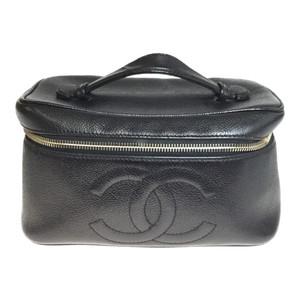 【中古】 シャネル(Chanel) キャビアスキン バニティバッグ ブラック レザー ミラー付き