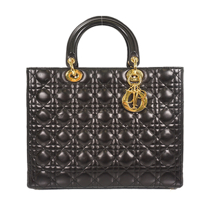 Auth Christian Dior Handbag Lady Dior Black Gold