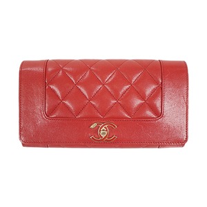 Auth Chanel Long Wallet Matelasse Lambskin Red Gold