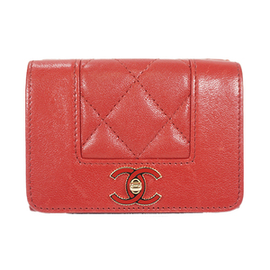 Auth Chanel Wallet Matelasse Lambskin Red Gold