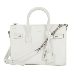 Auth Saint Laurent 2way bag Sucked Jules Baby White Silver