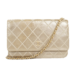 Auth Chanel Chain Wallet Wild Stitch Gold