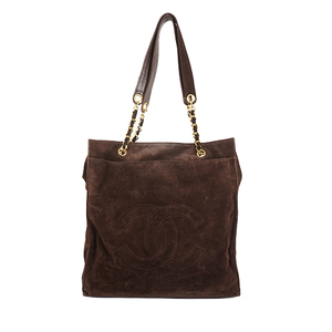 Auth Chanel Tote Bag Suede Brown Gold
