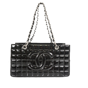 Auth Chanel Chain Shoulder Bag  Chocolate Bar Patent Leather Black