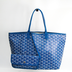 Goyard Saint Louis Saint Louis PM Leather,Canvas Tote Bag Blue