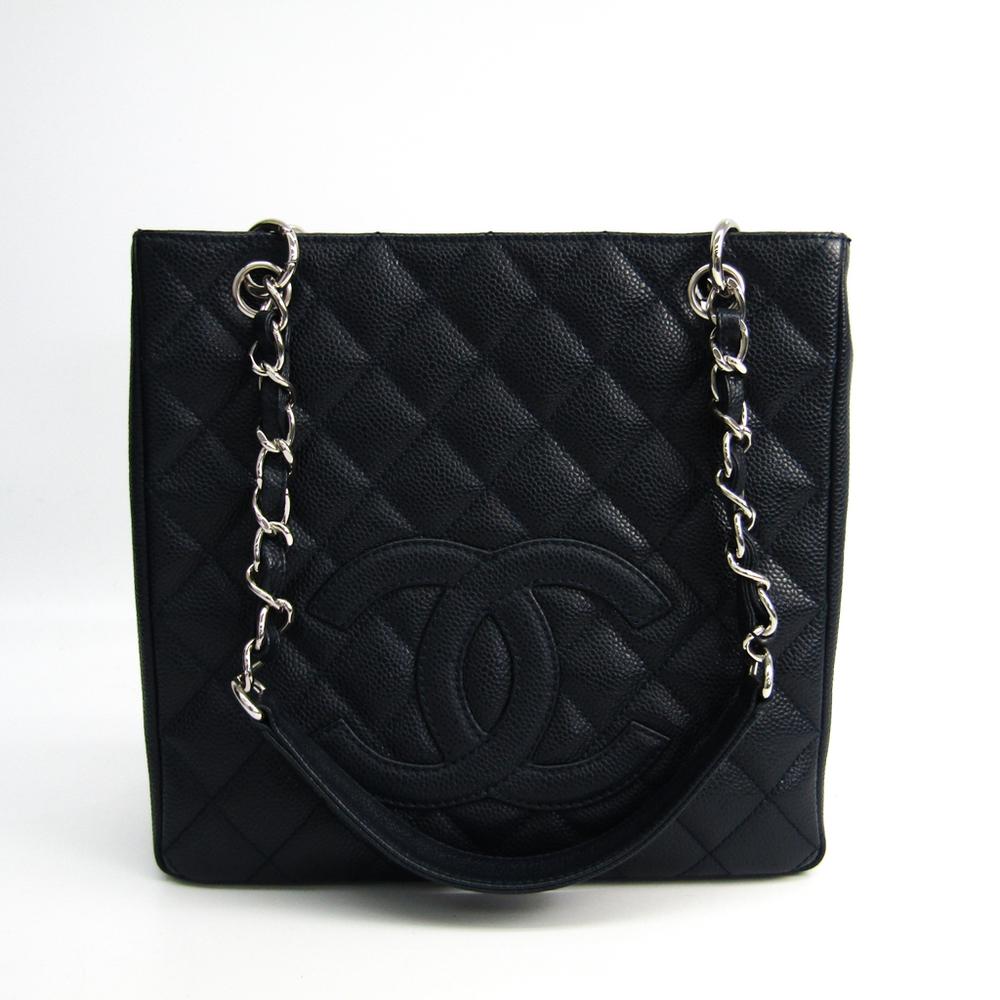 シャネル(Chanel) キャビア・スキン プチ ショッピング トート PST A20994 レディース キャビアスキン トートバッグ ダークネイビー
