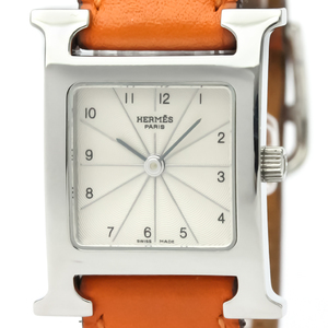 【HERMES】エルメス Hウォッチ ステンレススチール レザー クォーツ レディース 時計 HH1.210