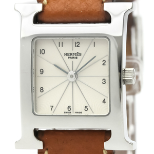 HERMES H Watch Steel Leather Quartz Ladies Watch HH1.210