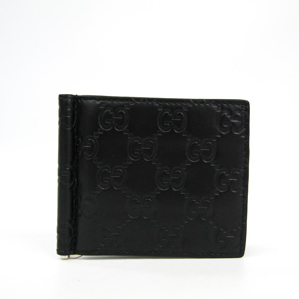 Gucci Guccissima 170580 Men's GG Leather Money Clip Black