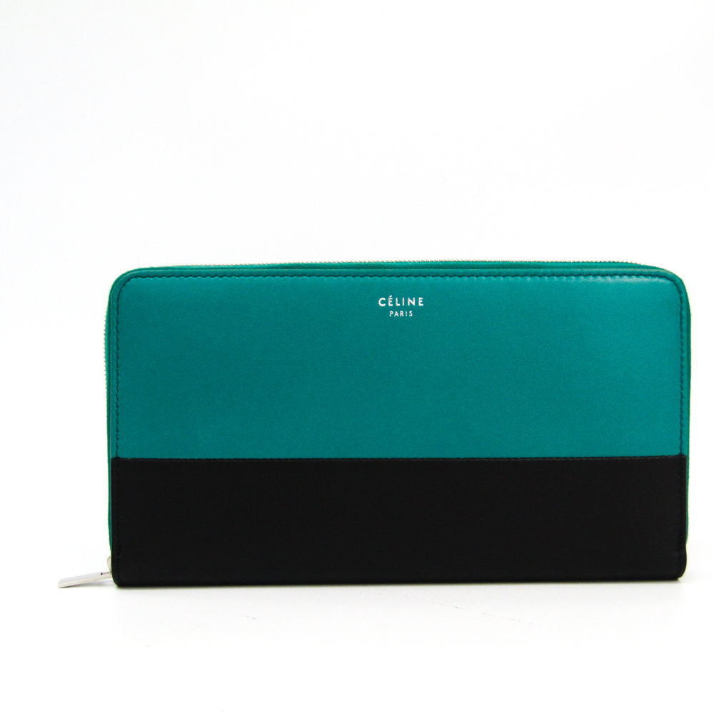 Celine Large Zipped Multifunction 103983 Women's  Calfskin Long Wallet (bi-fold) Black,Green