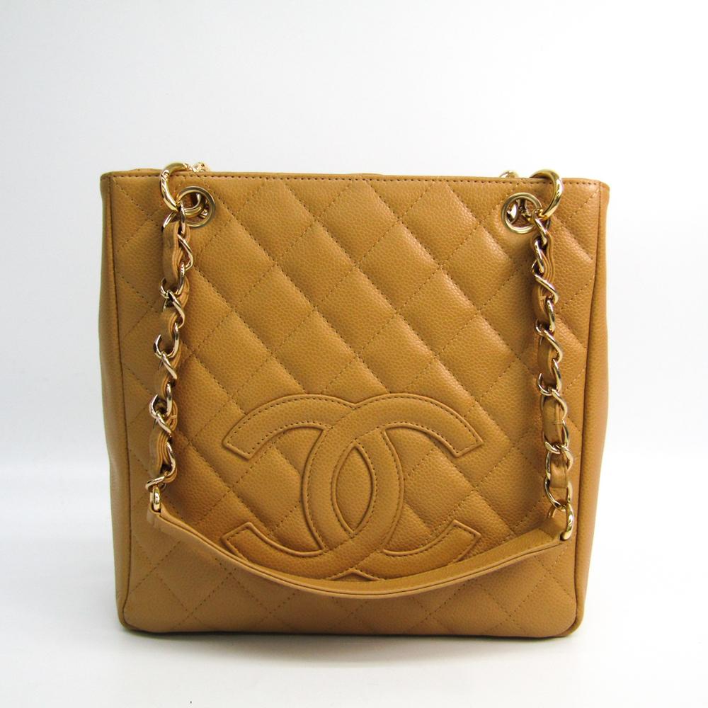 シャネル(Chanel) キャビア・スキン プチ ショッピング トート PST A20994 レディース キャビアスキン トートバッグ ベージュ