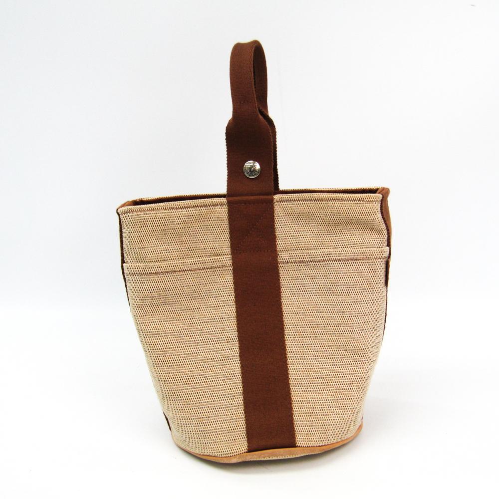 Hermes Saxon PM Women's Toile H Handbag Brown