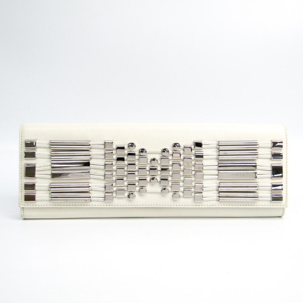 グッチ(Gucci) 240248 レディース レザー,メタル クラッチバッグ ホワイト,シルバー