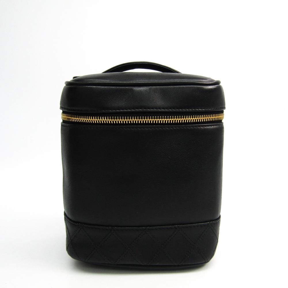 シャネル(Chanel) レザー バニティバッグ ブラック