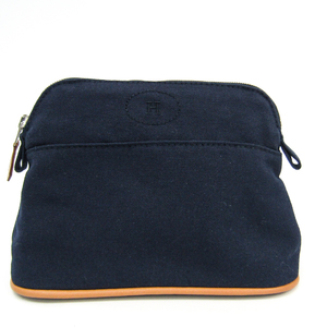 Hermes Bolide Mini Women's Cotton,Leather Pouch Navy