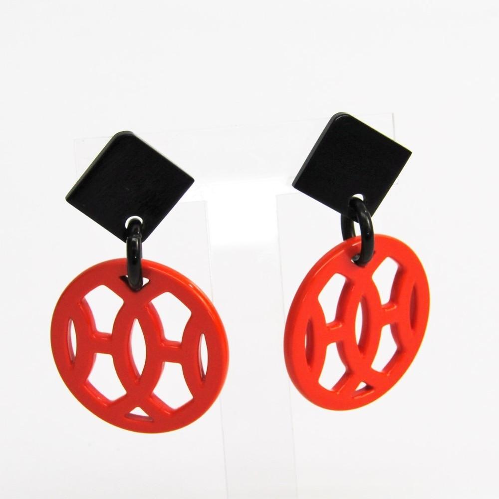 Hermes Hava Buffalo Horn,Lacquer Drop Earrings Black,Orange