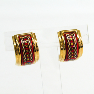 Hermes Emaire Cloisonné/enamel,Palladium Clip Earrings Multi-color,Gold,Red
