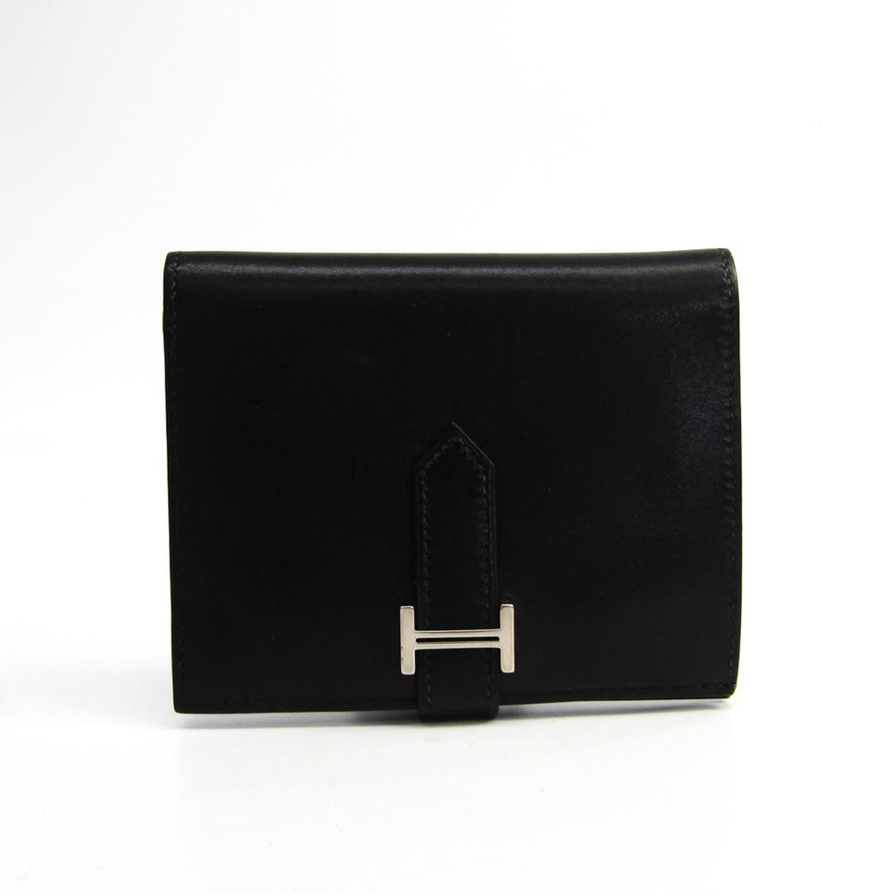 Hermes Bearn Box Calf Leather Wallet (bi-fold) Black