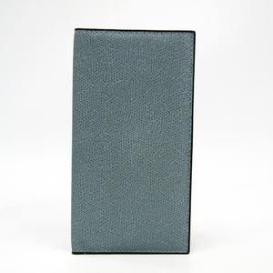 Valextra Vertical 12 Card V8L21 Men's Leather Long Bill Wallet (bi-fold) Light Blue