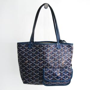 Goyard Saint Louis Saint Louis Junior Leather,Canvas Tote Bag Blue