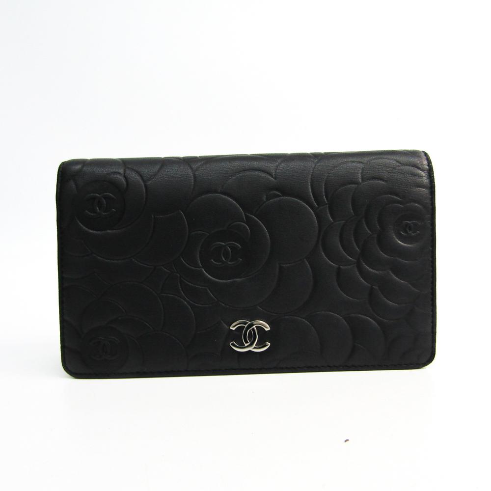 シャネル(Chanel) カメリア A36544 レディース  ラムスキン 長財布(二つ折り) ブラック