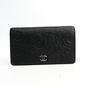 Chanel Camellia A36544 Women's  Lambskin Long Wallet (bi-fold) Black